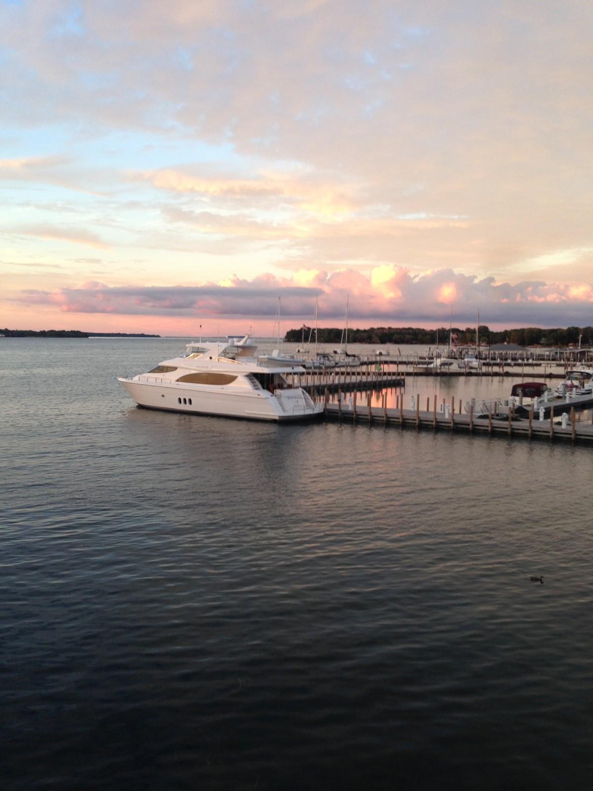 Marina and Boat at Sunset