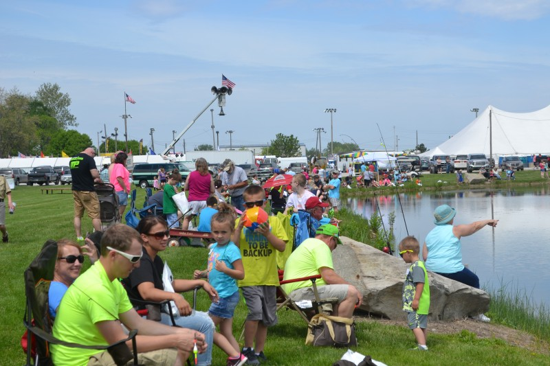 Families fishing at the Walleye Festival