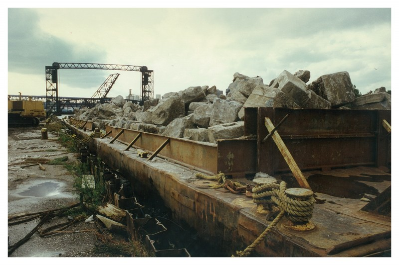 Barge filled with concrete rubble