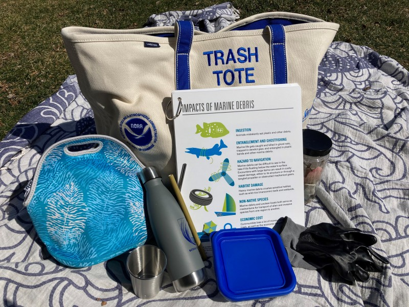 a blue and white tote labeled Trash Tote, with educational materials and reusable containers surrounding it