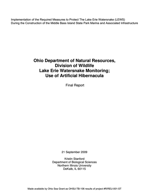 Implementation of the Required Measures to Protect The Lake Erie Water snake (LEWS) During the Construction of the Middle Bass Island State Park Marina and Associated Infrastructure