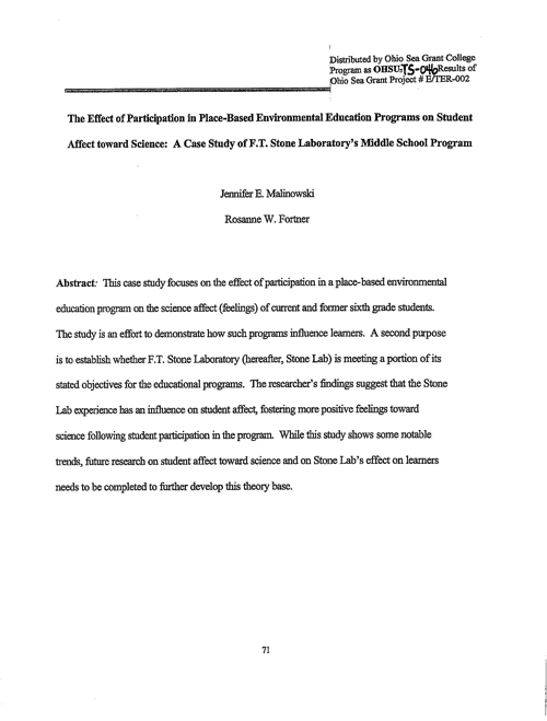 The effect of participation in place-based environmental education programs on student affect toward science: A case study of Franz Theodore Stone Laboratory's middle school program