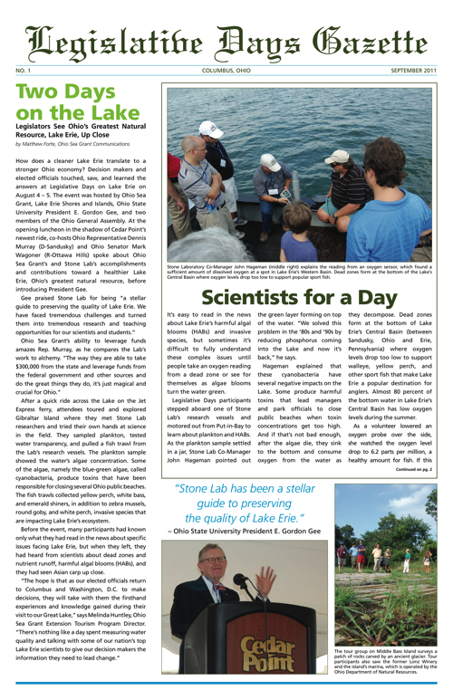 Legislature Days Gazette; A review of Legislative Days on Lake Erie 2011