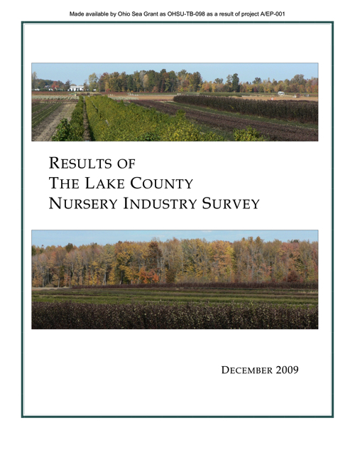 Results of the Lake County Nursery Industry Study