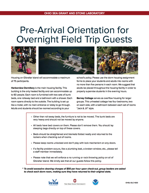 2016 Pre-Arrival Orientation for Overnight Field Trip Guests