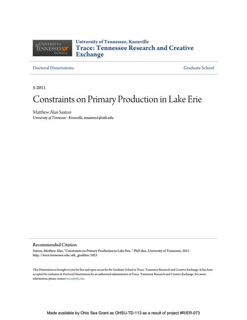 Constraints on Primary Production in Lake Erie