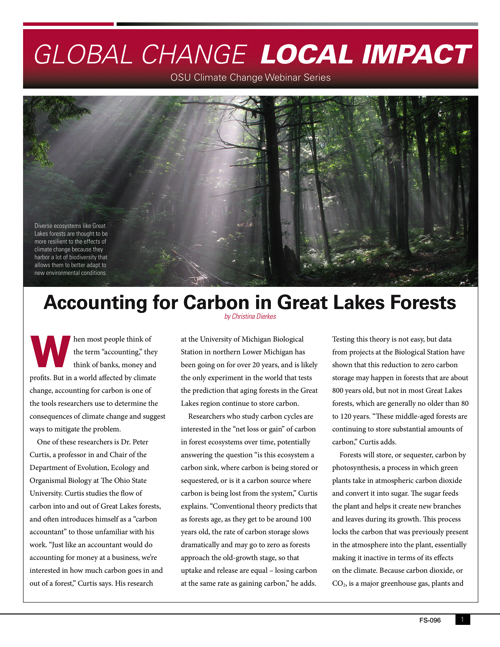 Global Change Local Impacts: Accounting for carbon in Great Lakes forests