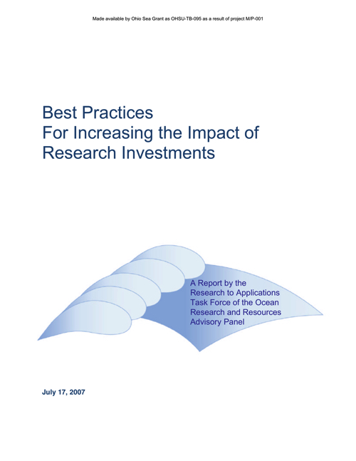Best practices for increasing the impact of research investments: A report by the Research to Applications Task Force of the Ocean Research and Resources Advisory Panel. Office of Naval Research