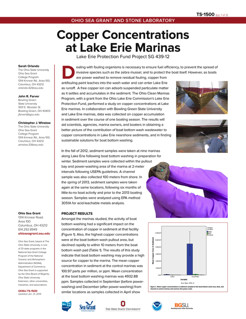 Copper Concentrations at Lake Erie Marinas