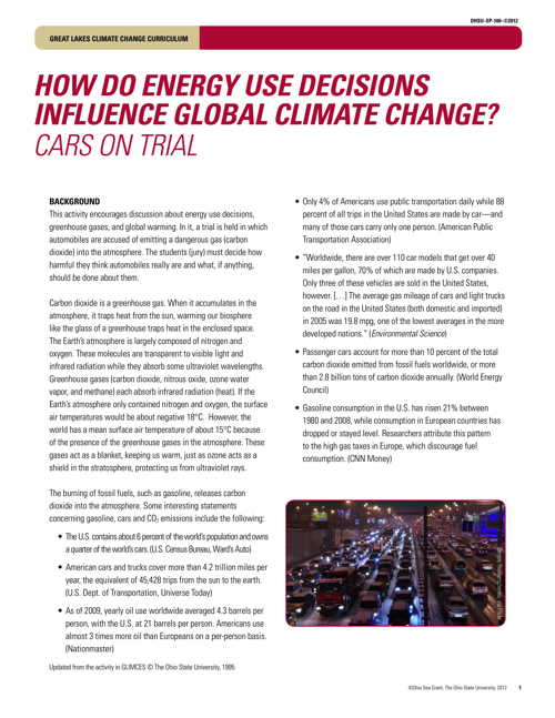 How do energy use decisions influence global climate change?: Cars on Trial