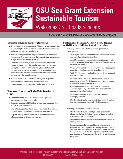 OSU Sea Grant Extension sustainable tourism