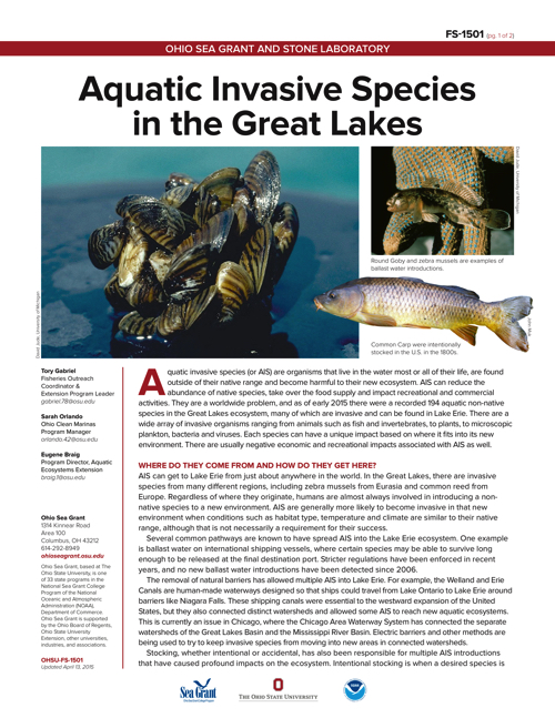 Aquatic Invasive Species in the Great Lakes