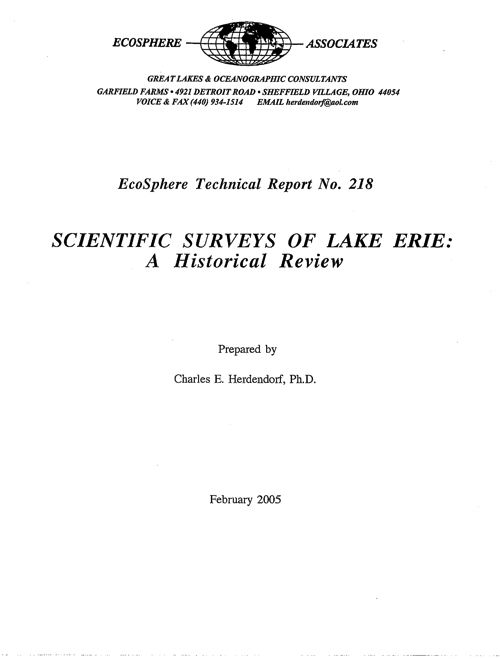 Scientific surveys of Lake Erie: A historical review
