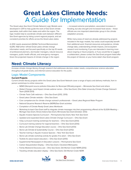 Great Lakes Climate Needs: A Guide for Implementation
