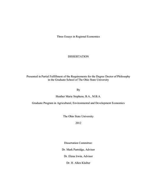 Three Essays In Regional Economics  Ohio Sea Grant    Product Details Three Essays In Regional Economics