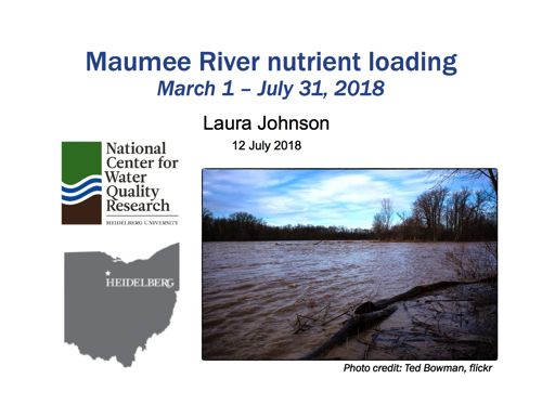 Maumee River nutrient loading March 1 – July 31, 2018
