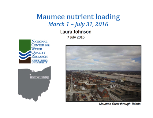 Maumee nutrient loading March 1 – July 31, 2016