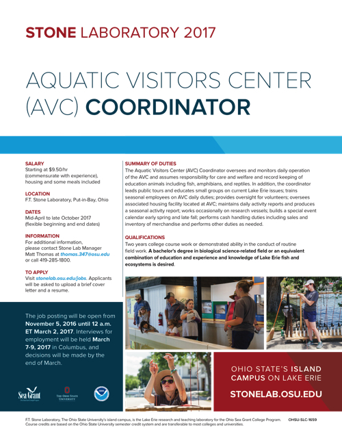 2017 Aquatic Visitors Center (AVC) Coordinator Flyer