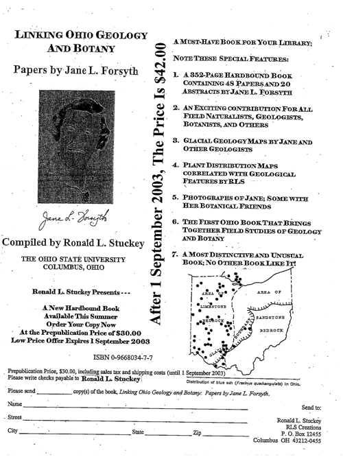 Linking Ohio geology and botany: Papers by Jane L. Forsyth