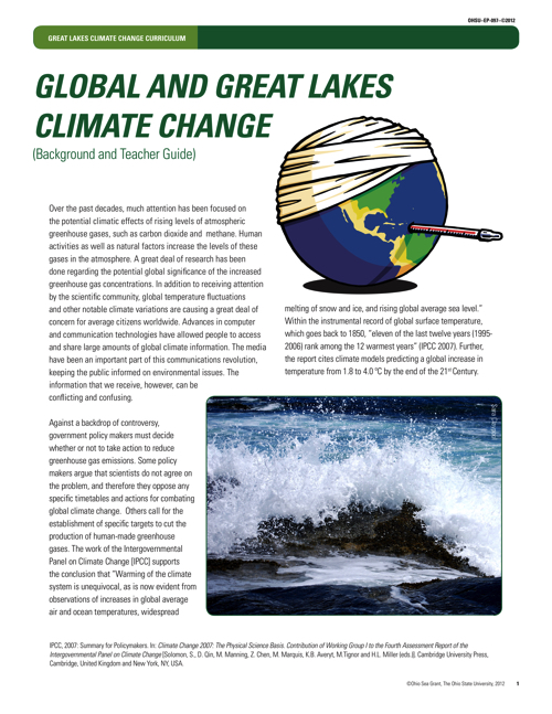 Global and Great Lakes Climate Change