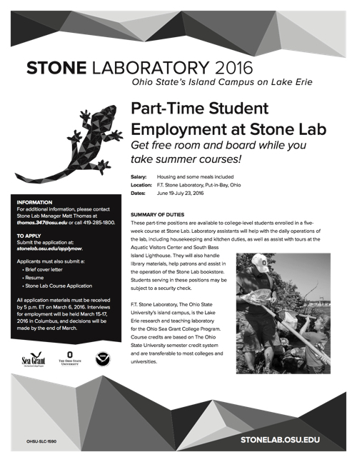 2016 Part-Time Employment at Stone Lab Flyer
