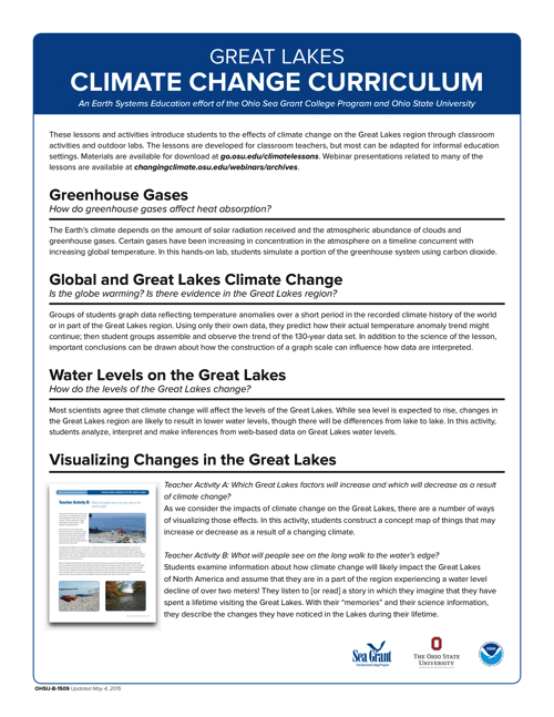 Great Lakes Climate Change Curriculum Overview