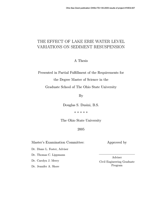 The Effect of Lake Erie Water Level Variation on Sediment Resuspension