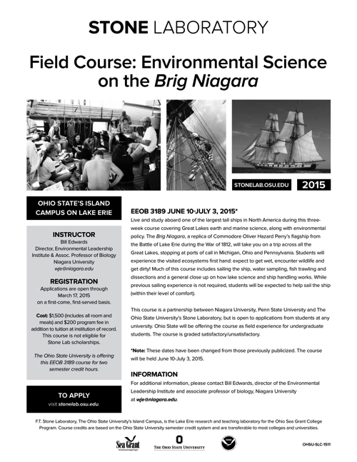 2015 Field Course: Environmental Science on the Brig Niagara Flyer