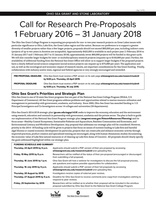 Call for Research Pre-Proposals 1 February 2016 - 31 January 2018