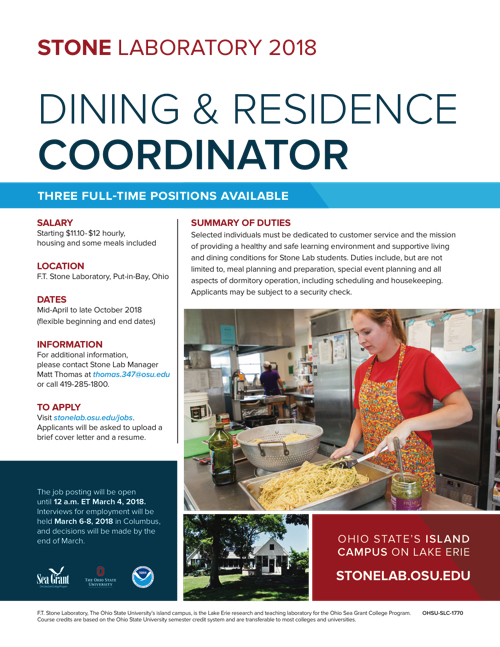 2018 Dining and Residence Coordinator Flyer