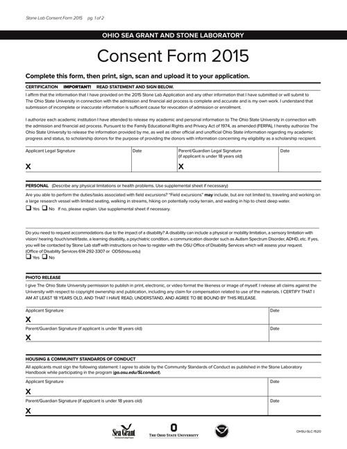 2015 Consent Form