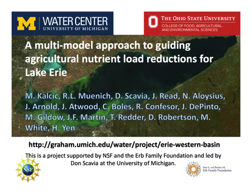 A multi‐model approach to guiding agricultural nutrient load reductions for Lake Erie