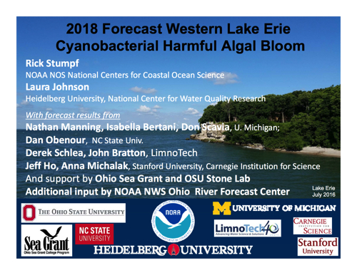2018 Forecast Western Lake Erie Cyanobacterial Harmful Algal Bloom