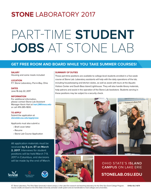 2017 Part-time Student Jobs at Stone Lab Flyer