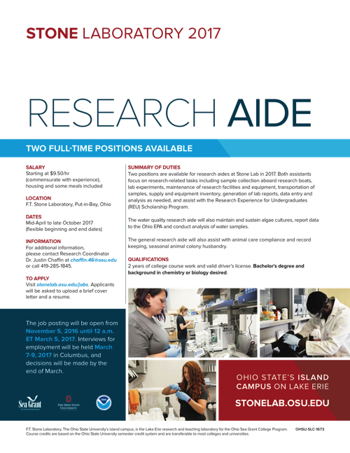 2017 Research Aide Flyer