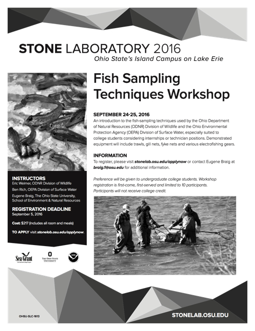 2016 Fish Sampling Workshop Flyer | Ohio Sea Grant