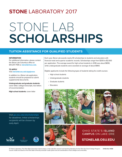 2017 Stone Lab Scholarships Flyer