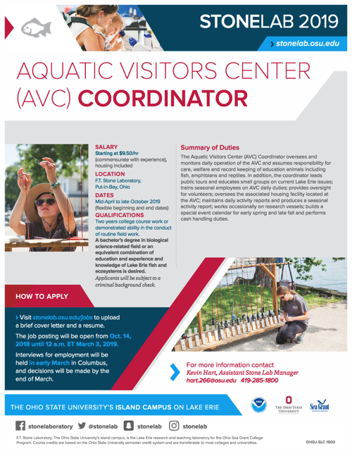 2019 Aquatic Visitors Center Coordinator Flyer