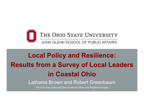 Local Policy and Resilience: Results from a Survey of Local Leaders in Coastal Ohio