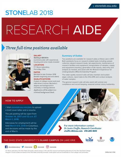 2018 Research Aide Flyer