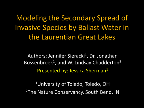 Modeling the Secondary Spread of Invasive Species by Ballast Water in the Laurentian Great Lakes