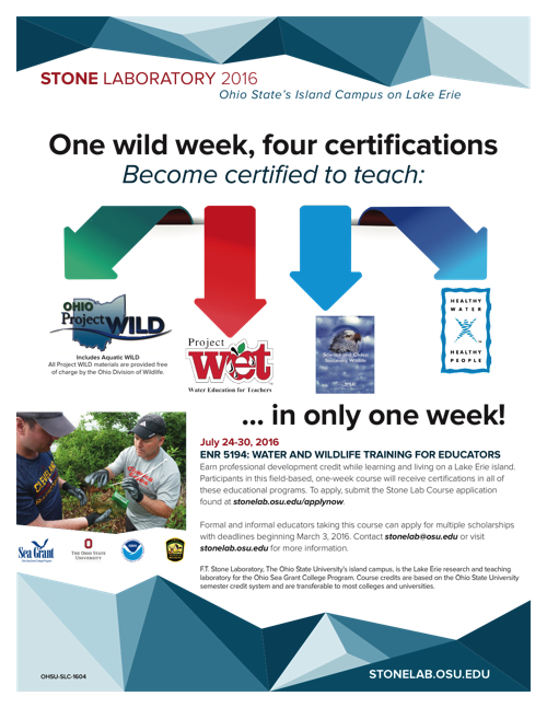 2016 Group Studies: Water and Wildlife Training for Educators Flyer